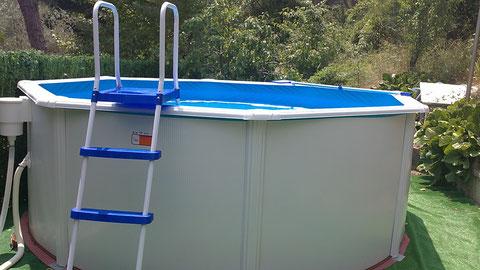 Esta es la piscina nueva,esta es mejor que la de lona.
