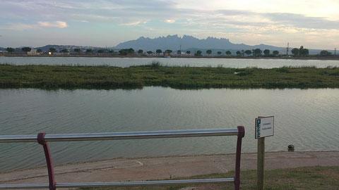 La Montaña de Montserrat al fondo.