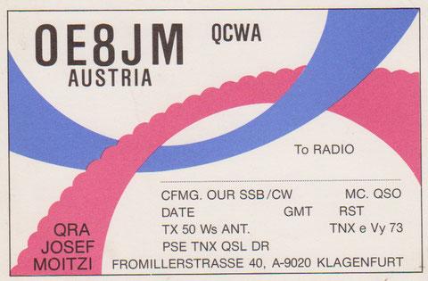 La QSL de nuestro amigo que vive en Klagenfurt y tambien en Capellades.
