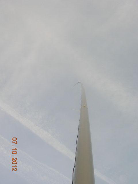 La antena de fibra de vidrio.