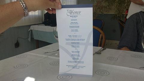 Aqui el menu con tres platos.