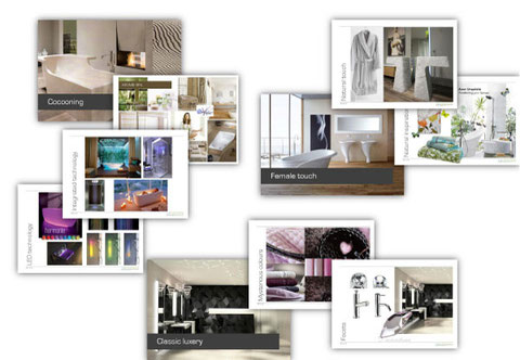 A selection of bath trends 2012; Cocooning, Female Touch, Classic Luxury