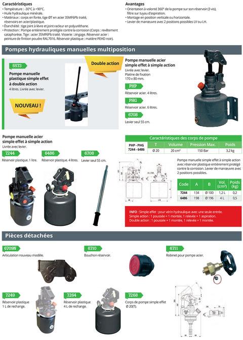 pompes hydrauliques manuelles et électriques