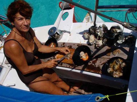 bénitiers et moules géantes pour le dejeuner