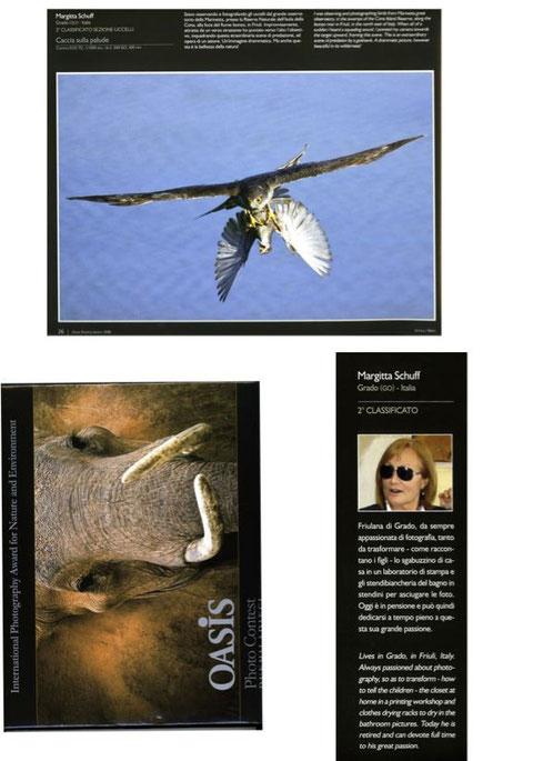 pubblicazione  della mia foto premiata da oasis internazionale