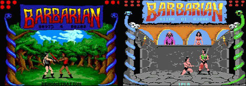 Barbarian, respectively for Amiga and Amstrad CPC.