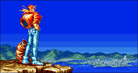 Terry arriving in Southtown (Fatal Fury)