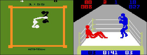 Boxing on Atari 2600 (Activision), and Boxing for the Mattel Intellevision (Mattel).