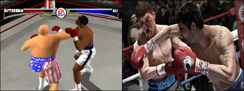 Sport simulations make their appearance, creating a new parallel genre to VS Fighting. Above, KO Kings (1998) et Fight Night Champion (2011).