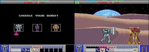 Konami's Galactic Warriors innovates: it includes guard and the fighter's choice.
