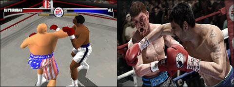 Les simulations sportives apparaissent, créant un nouveau genre en parallèle au VS Fighting. Ci-dessus, Ko Kings (1998) et Fight Night Champion (2011)...