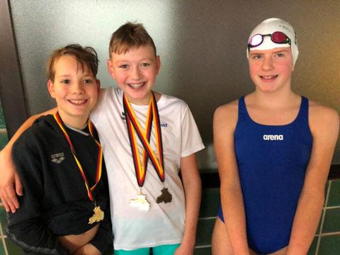 Die drei Sieger: Jonah Schupp, David Lange und Kira Sohrmann (von links)