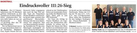 Artikel im Miesbacher Merkur am 11.11.2015 - Zum Vergrößern klicken