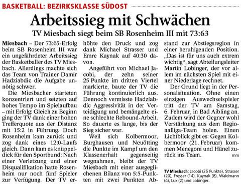 Bericht im Miesbacher Merkur am 1.2.2016 - Zum Vergrößern klicken