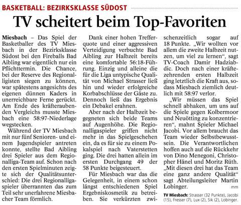 Bericht im Miesbacher Merkur am 9.2.2016 - Zum Vergrößern klicken