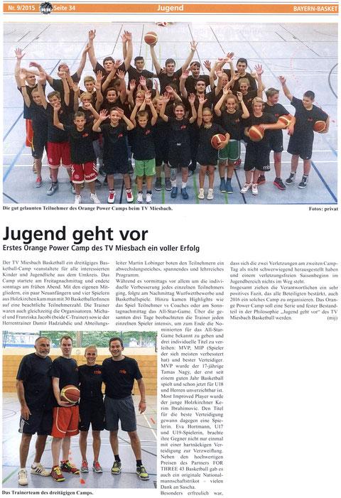 Artikel in BayernBasket 9/2015 - Zum Vergrößern Klicken