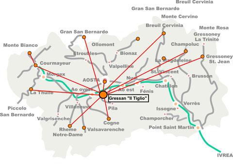 L'appartamento si trova al centro della Valle d'Aosta quindi è ottimo per visitare tutti i magnifici luoghi della valle in massimo un'ora e mezza di macchina