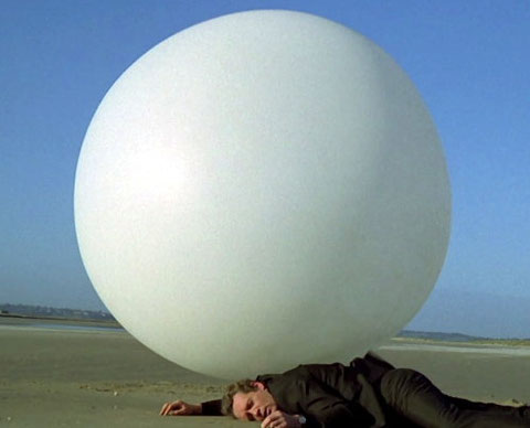 Patrick McGoohan is The Prisoner (1967-8), after a screen capture of the TV series
