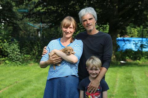 Familienfoto am 16 August 15: Kristine,Thorsten und Theo K. mit Grisu
