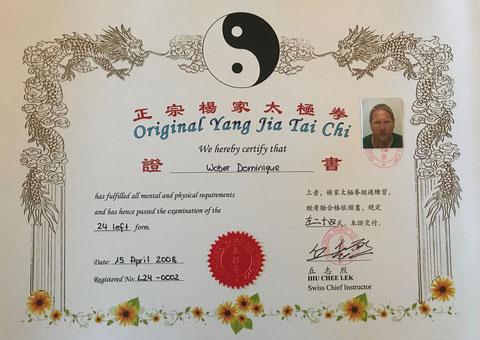 Yang Jia Tai Chi Meister Diplom 24 links