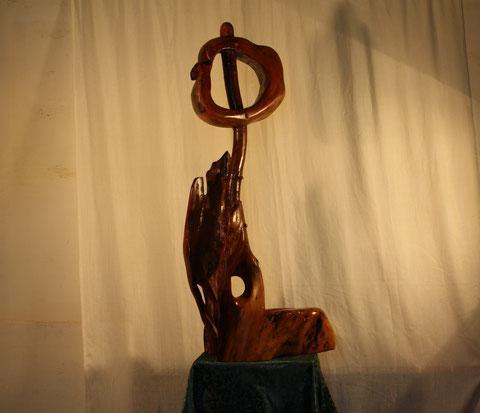 Contemplation-sculpture sur bois de platane.110cmx60cmx35cm année 2013