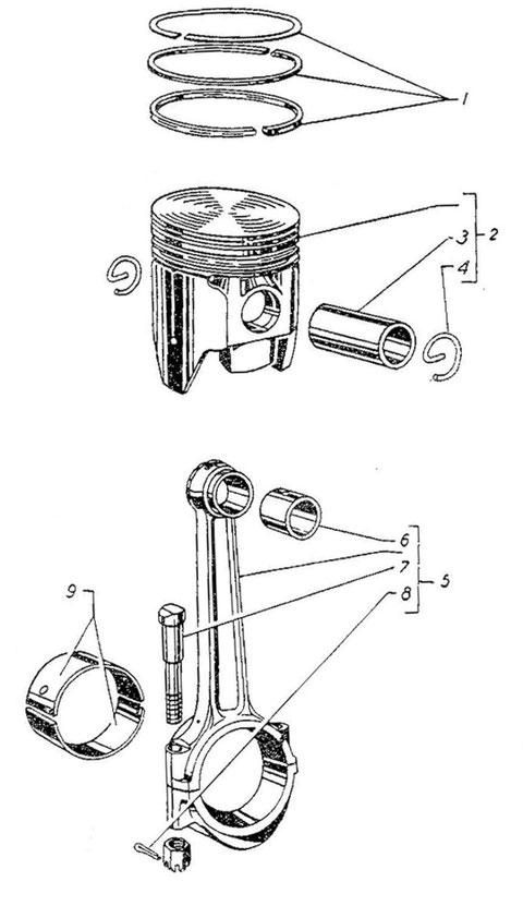 Kolben mit Pleuelstangen (Bild Nr.005 aus Ersatzteilkatalog)