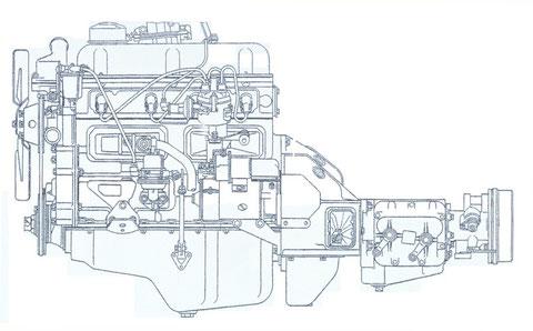 Bild Nr.7 Motor mit Kupplung und Wechselgetriebe vorn links