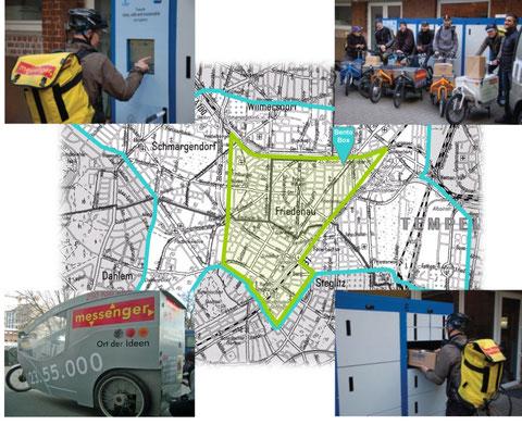 CityLog-Projekt Berlin mit Einsatzgebiet und Standort der BentoBox
