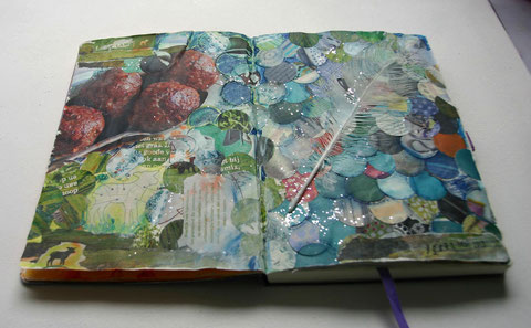 art journal collage, mixed media