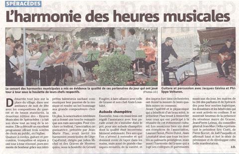 L'Harmonie des Heures musicales, article Nice matin du 5 juin 2012
