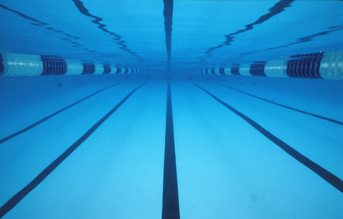 Swimming pool symmetry, Denver, Colorado, USA.
