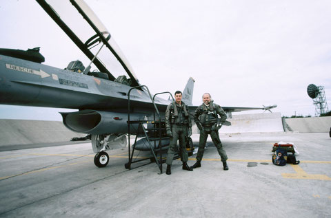 After an F-16 flight at Misawa AB, Japan.