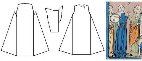 Schnitt des Kleides der Hl. Elisabeth v. Thüringen (1230) im Vergleich zur Maciejowski-Bibel: Folio 9r