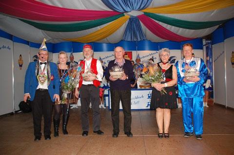 v.l. Volker Noe , Monika Noe , Gisbert Heck , Karl Gramlich , Barbara Specht u. Achim Rhein