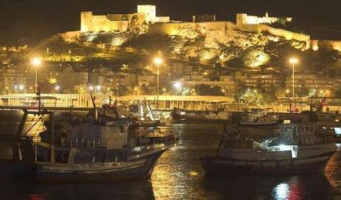 alcazaba,vista nocturna desde el puerto