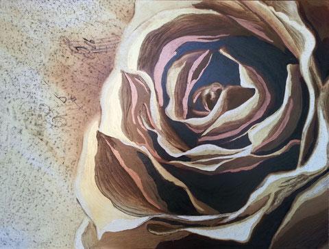 Autore : Antonella Sassanelli Titolo: Melodia Tecnica e supporto: mista con metalli su carta e legno Dimensioni: cm. 80 x 60 Anno: 2014