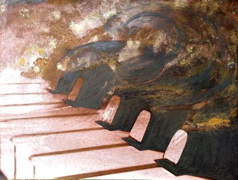 Autore : Antonella Sassanelli Titolo: Onda Tecnica e supporto: mista con metalli su carta e legno Dimensioni: cm. 80 x 60 Anno: 2014