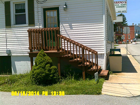 Photo of the freshly painted exterior entrance steps to our shop/office/stockroom area.