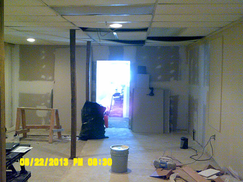 Looking toward back of building, on sales floor side, this wall is to be removed.