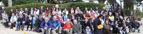 Le groupe de pèlerins au Mont des Béatitudes