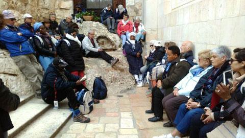 Prière sur le rocher de Gethsémani