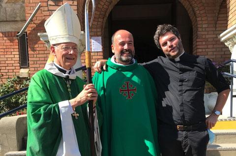 Mgr Eric Aumonier, P. Emmanuel Gougaud et P. Vianney Jamin, le 13 octobre 2020