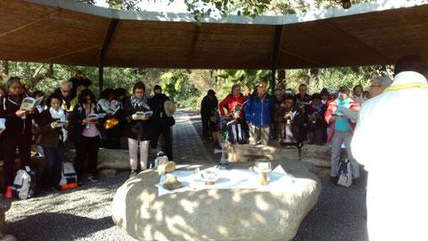 Célébration à Tabgha, lieu de la multiplication des pains