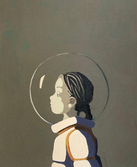girl on mars - Acryl auf Leinwand, 60x50cm, 2021