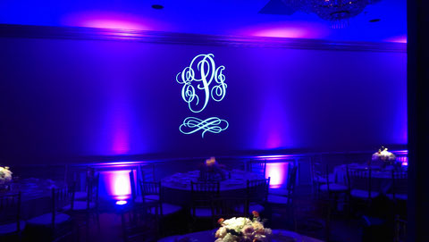 Elegant and romantic uplighting and name in lights for Dallas Weddings