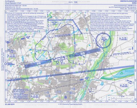 Sichtflugkarte Oberschleißheim, Upgrade per 22.01.2015