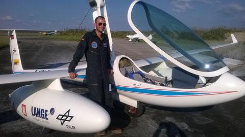 Pilot des Antares-Flugs von Bayreuth nach Oberschleißheim - 100 % elektrisch angetrieben. Foto: jkob