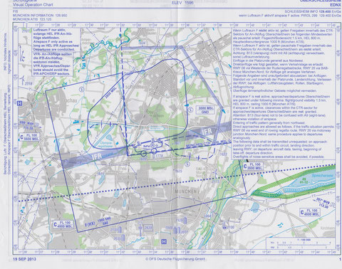 Die neue Sichtanflugkarte Oberschleißheim EDNX, gültig ab 19.09.2013, zu beziehen im DFS Aviation Shop oder Luftfahrtbedarf. Abbildung hier nur zur Information, nicht zur Navigation verwenden. Copyright DFS