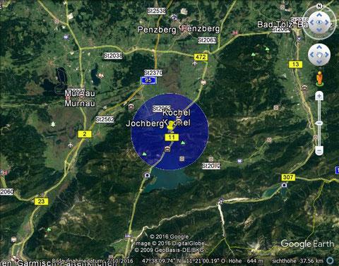 Gebiet mit Flugbeschränkungen Jochberg, aktuell bis 01 APR 2017, Bildquelle: Google earth