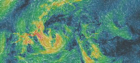 Neu bei Meteoblue, Meteoblue maps -wind. Tief bei Genua am 29.FEB 2016, 15 Uhr MEZ. Darstellung Meteoblue